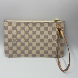 NEW Louis Vuitton Damier Azur Neverfull Wristlet